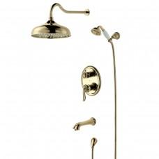 Душевой комплект Lemark Brava LM4722G, встраиваемый с однофункциональной лейкой, золото
