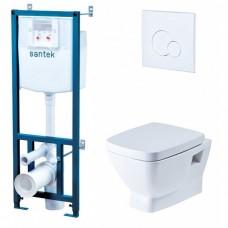 Комплект инсталляции с белой кнопкой Santek ПЭК и подвесным унитазом с крышкой с микролифтом Нео 1.WH30.2.463