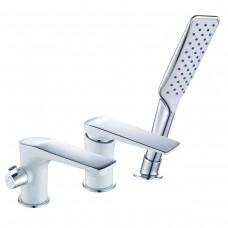 Смеситель на борт ванны встраиваемый, на 3 отверстия, с аксессуарами, хром/белый