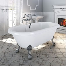 "Акриловая ванна ""Леонесса"" на ножках со сливом-переливом, 175x80, комплектация хром, RADOMIR"