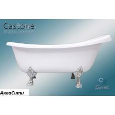 Ванна из искусственного камня Castone Даллас белая с ножками хром 170х82.7 см (слив хром)