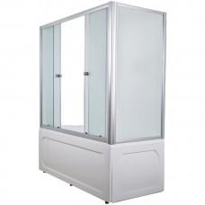 Шторка на ванну 1MarKa 150*140 профиль хром/белый